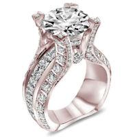 Women Jewelry 18K Rose Gold Filled White Topaz Wedding Anniversary Ring Size6-10