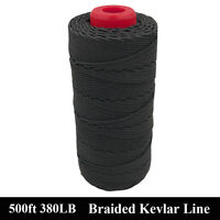 Black 500ft 380lb Kevlar Line Braided Caving Cord Tactical Rope Made with Kevlar