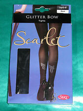 Silky - Black Diamante Bow Backed Tights Size Large