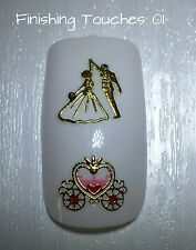 Nail Art Sticker- Gold Decal #345 TJ090 Transfer Shiny Metallic Carriage Wedding