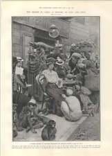 1905 Le Caire CAFE Réunion est et ouest égyptien Marchands et mendiants Singe