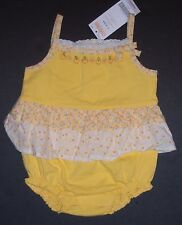 Nwt Gymboree Prairie Ranch 3-6 Months Apricot Tiered Floral Ruffle Bubble Romper