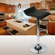 Set of 4 PU Leather Bar Stool Adjustable Swivel Chrome Countertop Chair Black US