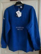 Mens New Reebok Logo Sweater Sweatshirt Jumper Pullover -Blue UK Size M