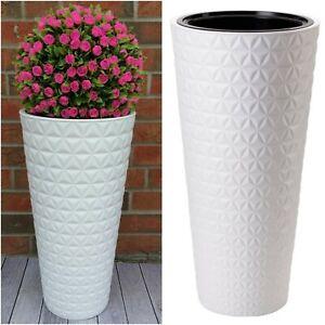 Blumenkübel Weiß Diamant Rund Slim 3D Effekt Pflanzkübel Blumentopf Hoch XL