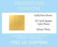 "5 x 12"" Inch Square Gold Wedding Birthday Cake Drum / Board 12mm"