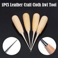 Leather Craft Hole Maker- Awl Tool - Wooden Handled Thick Round Point For Sewing