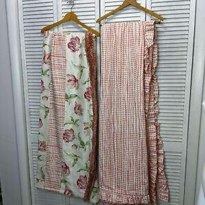 Custom Made King Duvet Cover & Matching Window Valance French Country Pink Ivory