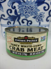 WHITE LUMP CRAB MEAT CROWN PRINCE NATURAL WILD CAUGHT, CANNED 6 OZ EXP 2020