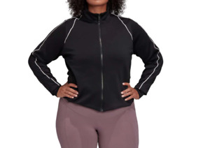 Adidas Track Jacket Womens Plus Sizes 1X to 4X New Full Zip Long Sleeve Black