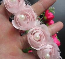 1yd Vintage Flower Pearl Lace Edge Trim Wedding Ribbon Applique DIY Sewing Craft Pink
