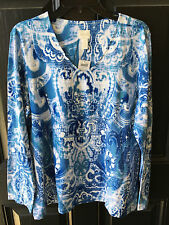 New Chico's Intricate Scroll Smooth Valentina Blue Top Shirt 2 Large L 12 14 NWT