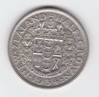 1934 NEW ZEALAND 1/2 Half Crown King George V Silver Coin Shows 8 Pearls S-161
