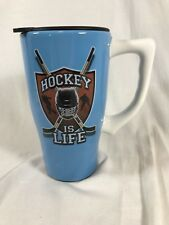 Hockey is Life Travel Coffee Mug Tea Cup Lid Ceramic Handle Drink Blue