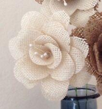 Hessian / Burlap Flowers Ivory Stemmed Bouquets Vintage Weddings x 7