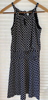 Valerie Bertinelli Ladies Sz 4 Halter MIDI Dress Navy Print Polyester Blend EUC