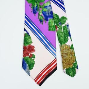 VERSACE TIE Cross-stitch Flora on Purple & Pink Classic Silk Necktie