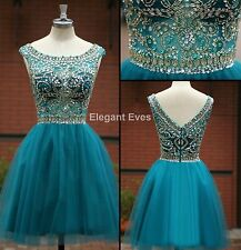 Boat Neck Blue Gold Bead Formal Evening Short Prom Ball Party Dresses Homecoming