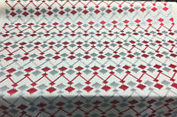 39 Yard Roll Bali Embroidered Cornflower Red Gray Drapery Upholstery Fabric