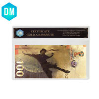 Colorful World Gold Banknote Collectible 24k Gold Foil World Cup Gifts In Sleeve