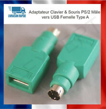 Adaptateur Clavier & Souris PS/2 Mâle vers USB Femelle Type A - Neuf Windows