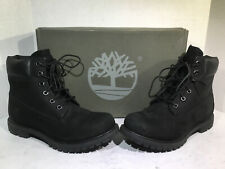 """Timberland Womens Size 8.5 6"""" Premium Black Suede Work Boots ZB-646"""