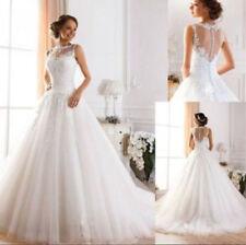 Hot White ivory Lace A-line Wedding Dresses Sleeveless Bridal Gown Custom Size