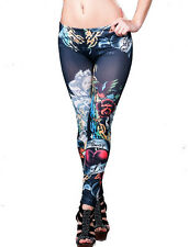 New Ladies Graffiti Tattoo Print Patterned Full Length Leggings, Size 8-12