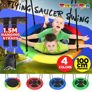 【100cm Heavy duty】 40'' Tree Swing Large Round Seat Kids Outdoor Yard Toy