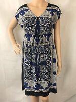 En Focus Studio Dress Size 10 Black White Blue Print V-Neck