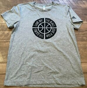 ADIDAS Gray LIVE BY THE BALL DIE FOR THE GAME Logo Athletic T Tee Shirt womens M
