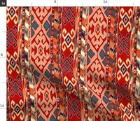 Red Kilim Stripe Geometric Boho Bohemian Spoonflower Fabric by the Yard