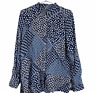 Trenery Womens Blue Floral Long Sleeve Button Up Blouse Size M