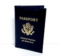Blue USA Leather Passport Cover Travel Wallet Card Holder New