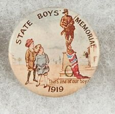 World War One Australia State Boys Memorial 1919 Pinback Button Badge - scarce