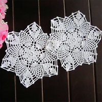 2pcs 22CM White Flower Cotton Yarn Hand Crochet Lace Doilies Placemat Coasters