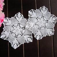 2pcs 22CM White Flower Cotton Yarn Hand Crochet Lace Doilies Placemat Coasters