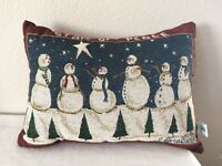 Vintage Christmas Tapestry Throw Pillow Christmas Snowman by Riverdale Signed GB