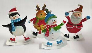 Christmas Metal Characters 20cm Festive Ornaments Santa Penguin Snowman Reindeer