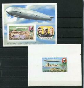 7 DELUXE MALAGASY PROOFS IMPERF ZEPPELIN MNH 3646