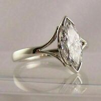 14K White Gold Finish 1.50 Ct Marquise Cut Diamond Engagement Wedding Ring