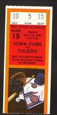 1989 Iowa Cubs Ticket vs Toledo Mud Hens