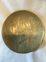 ART NOUVEAU BRASS DISH/BOWL  15cm DIAMETER