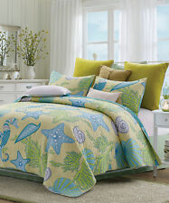 Beach Dreams * King * Quilt Set : Sea Shell Blue Yellow Beach House Ocean
