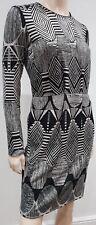 MW MATTHEW WILLIAMSON Grey & Cream Tribal Print Long Sleeve Dress I42 UK10
