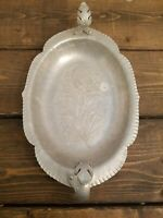 Vintage Hand Wrought Chrysanthemum Handled RelishTray Trade Continental Mark 11""