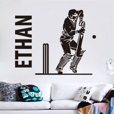 Wallpaper Cricket Player Sports Boys Bedroom Mural Custom Name Wall Stickers Art