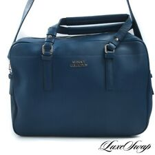 NWOT Versace Collection Made in Italy Petrol Teal Blue Convertible Briefcase Bag
