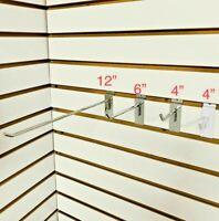 "Slatwall Hook 4"" 6"" 12"" Chrome White Slat Wall Hooks Peg 25 or 50 pcs Display"