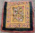"""14"""" x 13.5"""" Vintage Rabari Throw Embroidery Ethnic Tapestry Tribal Wall Hanging"""